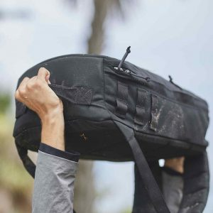 GORUCK Rucker has a bottom handle and a top handle, makes it easier to do PT such as the overhead press.