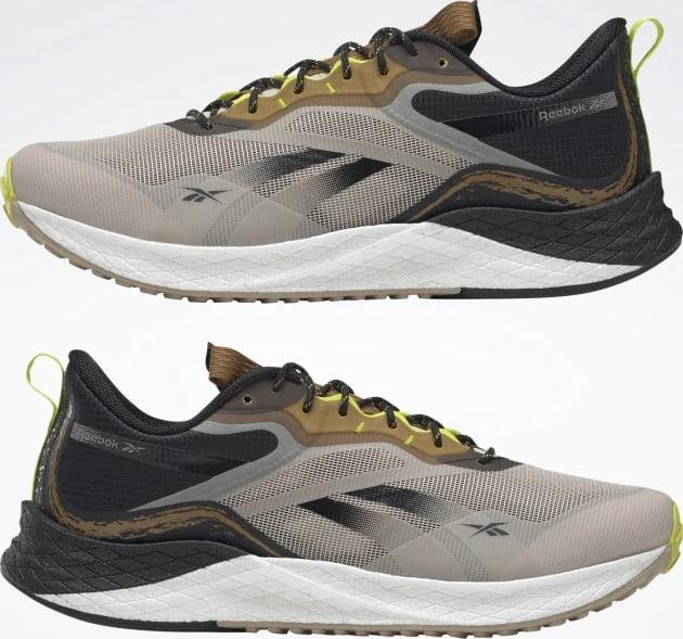 Reebok Floatride Enery 3 Adventure Mens Running Shoes Stucco  Black  Sepia pair upside down