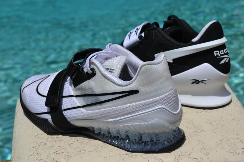 Reebok Legacy Lifter II Weightlifting Shoe Versus Nike Romaleos 4 Heel view