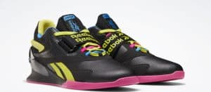 Reebok Legacy Lifter II Men's Weightlifting Shoes in Black / Chartreuse / Proud Pink - Quarter