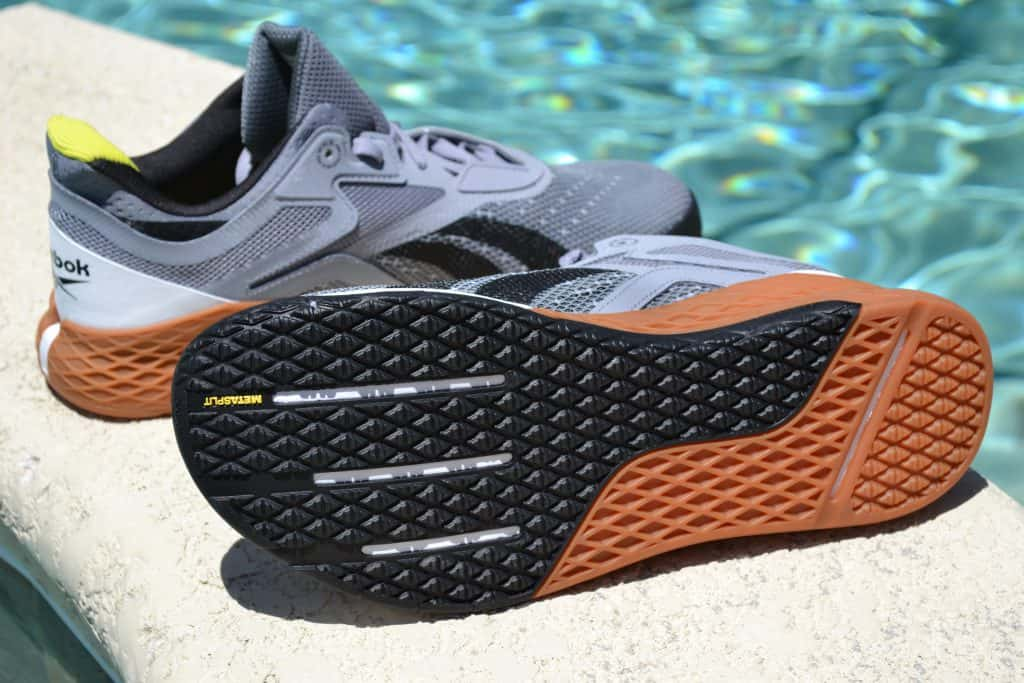 Reebok Nano X in Cool Shadow/Black/White - the outsole is flat and grippy
