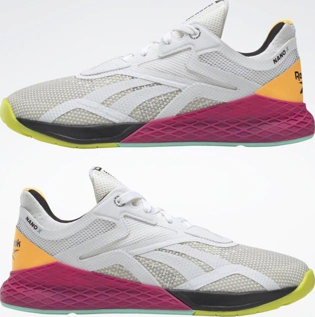 Reebok Nano X Womens Training Shoes Ftwr White Core Black Solar Gold upside down pair