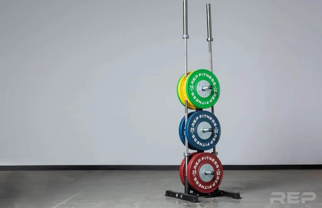 Rep Bar and Bumper Plate Tree with weights