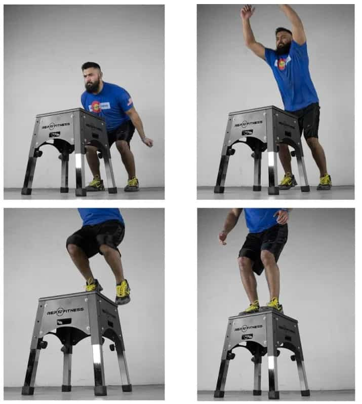 Rep Fitness Adjustable Plyo Box with a user