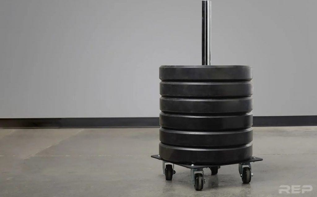 Rep Fitness Bumper Stacker With Wheels with plates