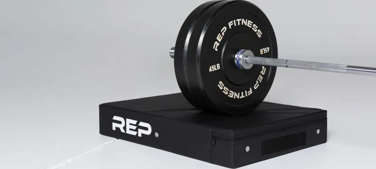 Rep Fitness Drop Pad under a barbell