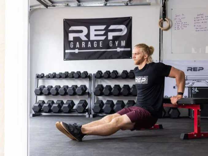 Rep Fitness FB-3000 Flat Bench with a user 2