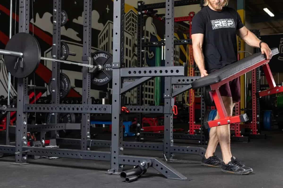 Rep Fitness FB-3000 Flat Bench with a user 4