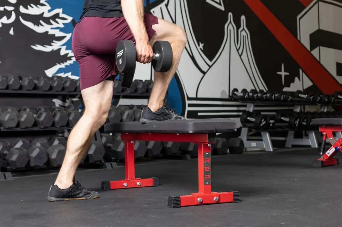 Rep Fitness FB-3000 Flat Bench with a user 5