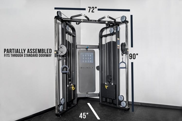 The dimensions of the Rep Multi-Grip Functional Trainer