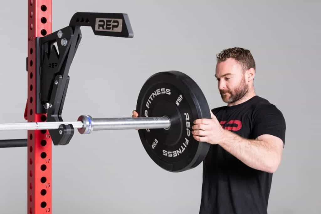 Rep Fitness Monolift Attachment holding the barbell
