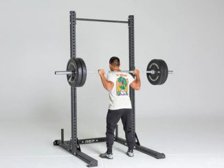 Rep Fitness SR-4000 Squat Rack back view carrying barbell