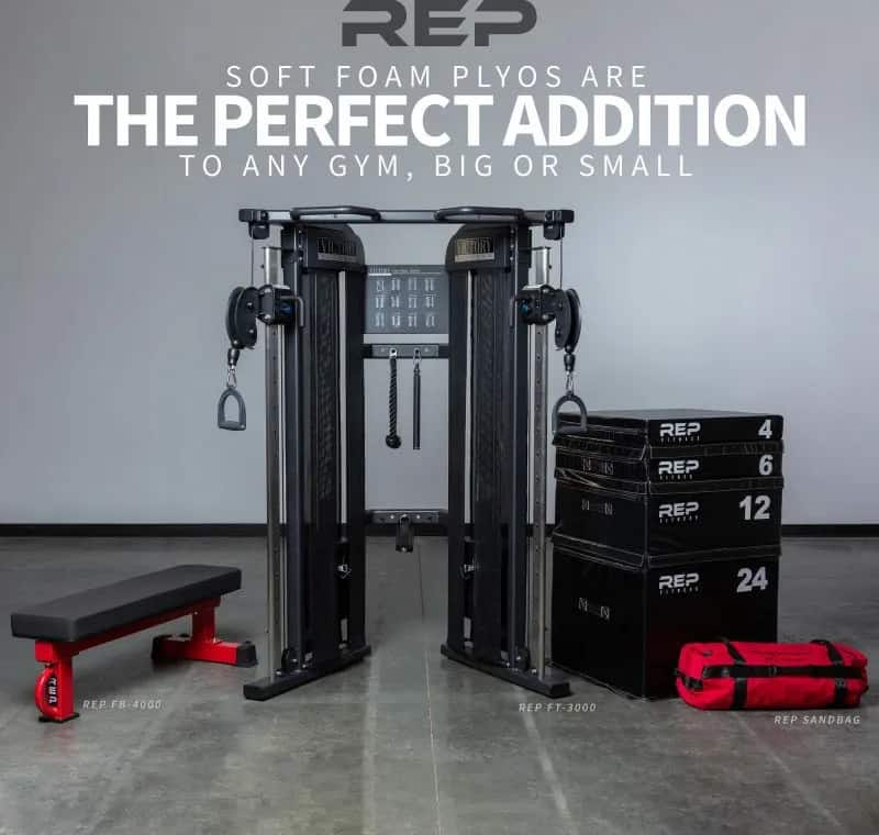 Rep Fitness Soft Foam Plyo Box with other equipment