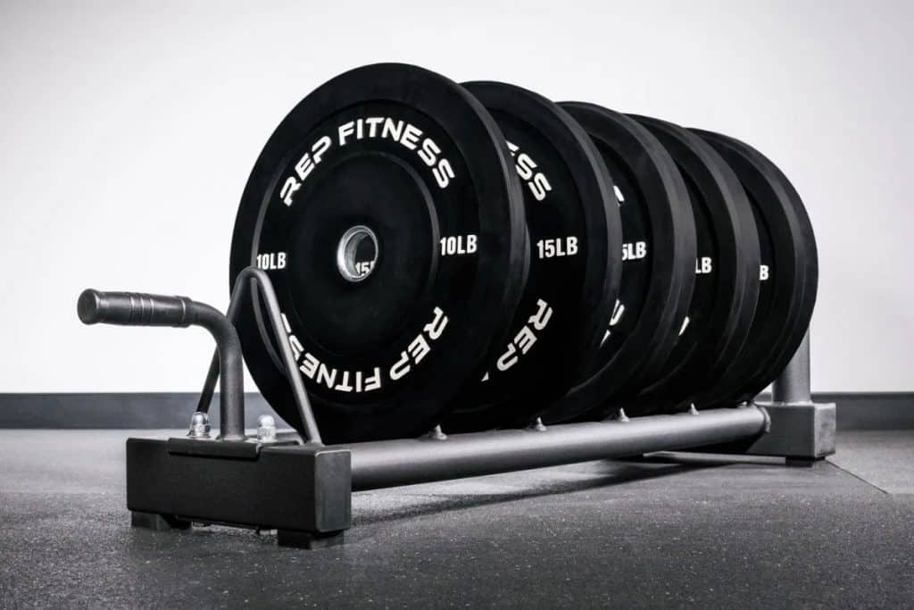 Rep Fitness V2 Horizontal Plate Rack full view with plates