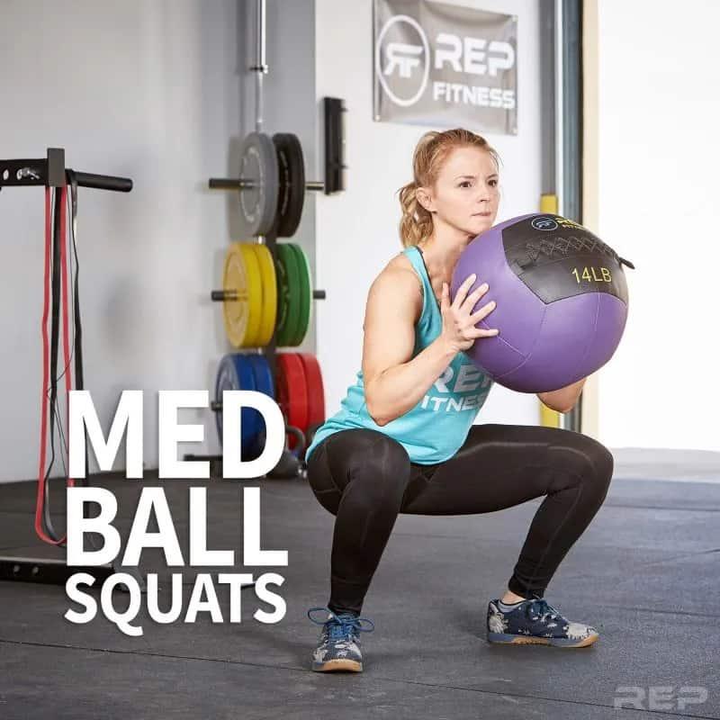 Rep Fitness V2 Medicine Balls squats