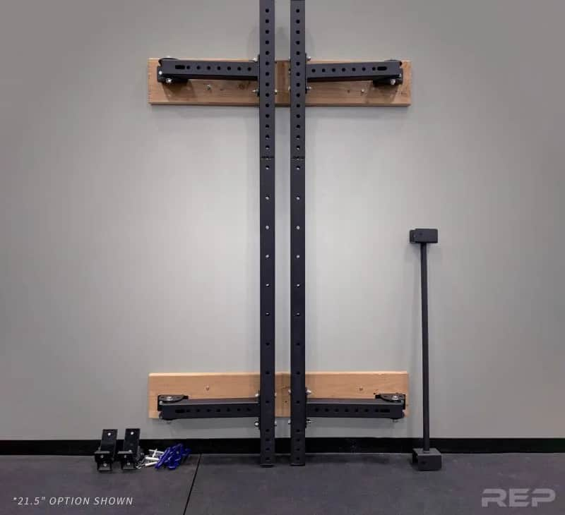 Rep PR-4100 Folding Wall Mount Squat & Power Rack flat on the wall