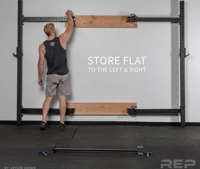 Rep PR-4100 Folding Wall Mount Squat & Power Rack flat storage