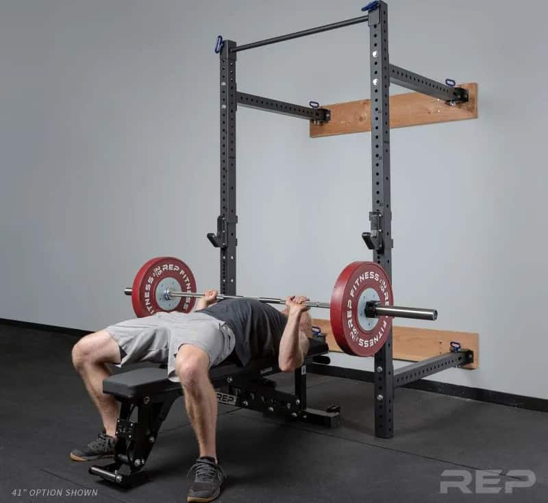 Rep PR-4100 Folding Wall Mount Squat & Power Rack with a lifter
