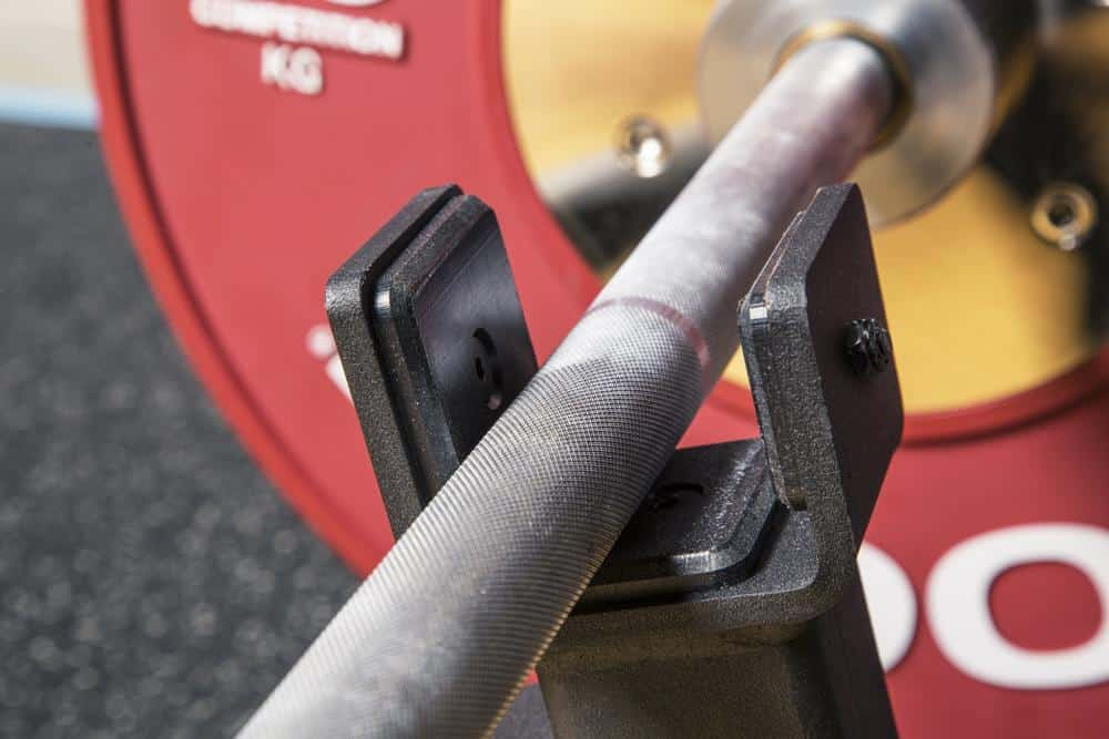 Rogue Mini Deadlift Bar Jack close view with a barbell