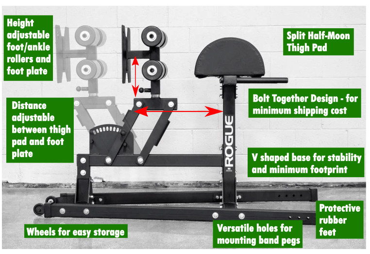 The Rogue Abram GHD 2.0 combines consistent performance and stability with smooth, precision adjustments and unique portability. This compact machine is a comprehensive tool for midline stabilization and the strengthening of hamstrings and glutes—all in a way that is functionally transferable to an athlete's sport.