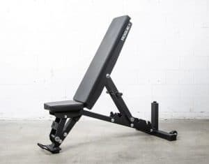 """ade from 2x3"""" 11-gauge laser-cut steel with a bolt-together construction and full portability, the redesigned Rogue Adjustable Bench offers more options and comfort than the original model, all at a lower price."""