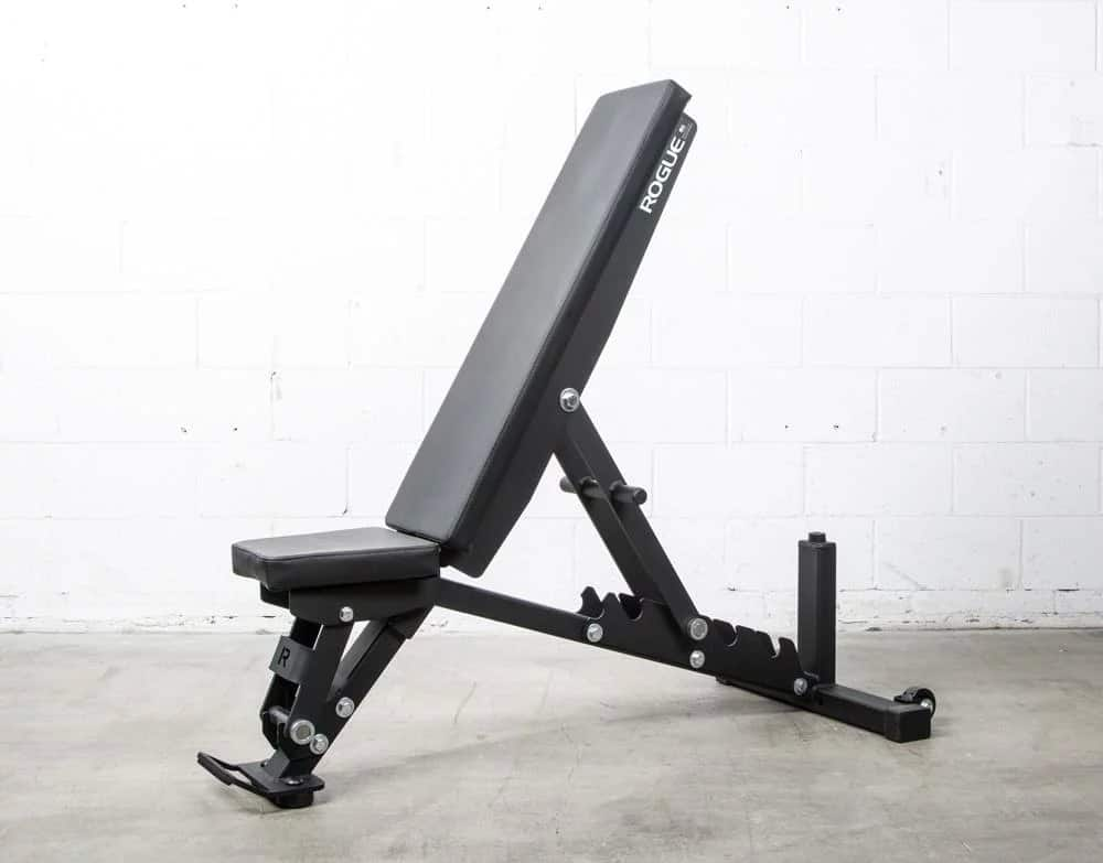 """Made from 2x3"""" 11-gauge laser-cut steel with a bolt-together construction and full portability, the redesigned Rogue Adjustable Bench offers more options and comfort than the original model, all at a lower price."""