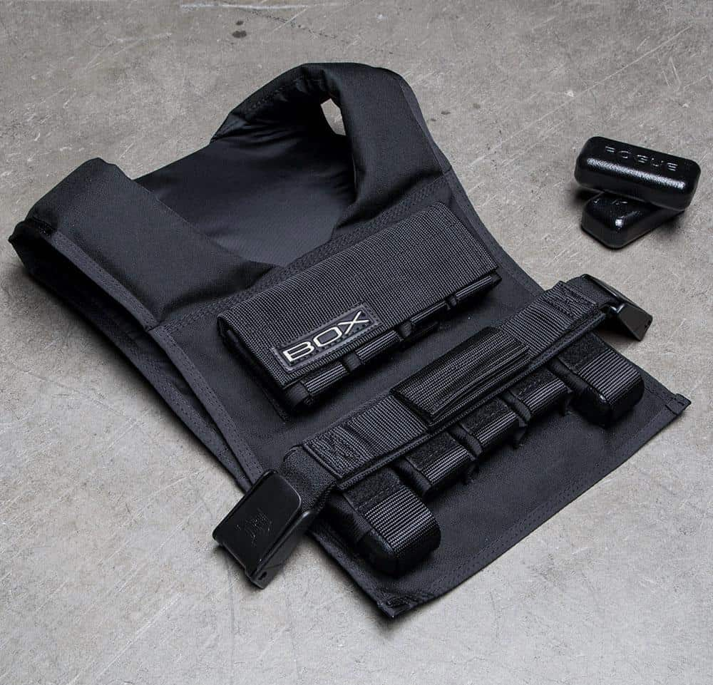 Rogue BOX Weighted Vest full view on the floor
