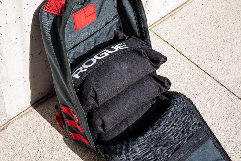 Rogue Brick Bag inside a GORUCK Rucker 3 fitness backpack