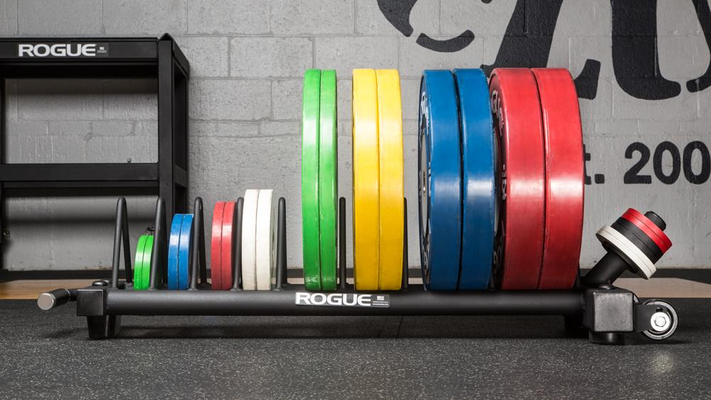 Rogue Competition Bumper Plate Cart full view with plates