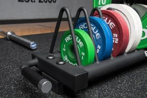 Rogue Competition Bumper Plate Cart with plates close up