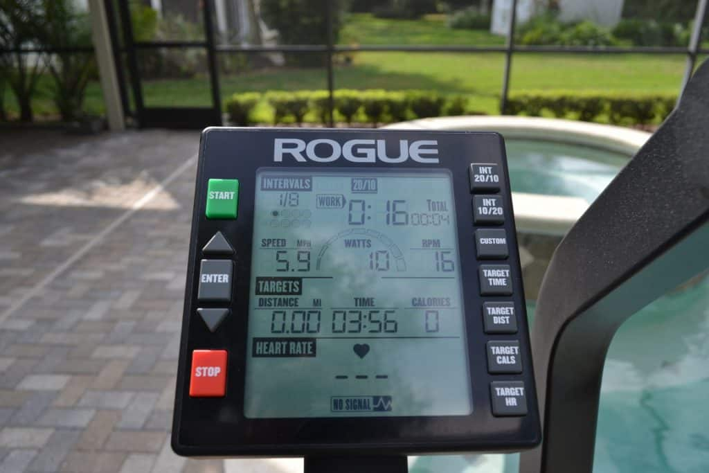 Rogue Echo Bike - the Console - which lets you control and measure how you use the bike.