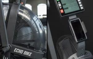 Rogue Echo Bike Wind Guard can stop the breeze quite effectively - at least for the bike rider. The Echo Bike Phone Holder is shown here as well.
