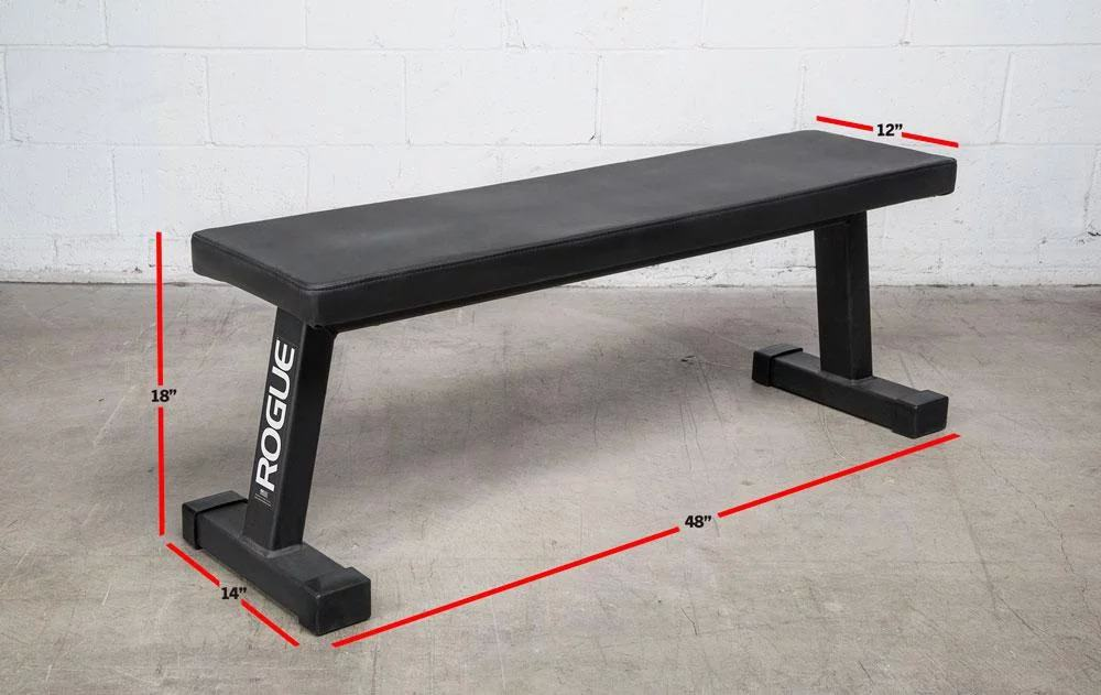 "The redesigned Rogue Flat Utility Bench takes the weight bench back to basics, featuring 2x3"" 11-gauge steel construction, a high-density Neoprene pad, and a pair of angled, wide-set legs for maximized stability."