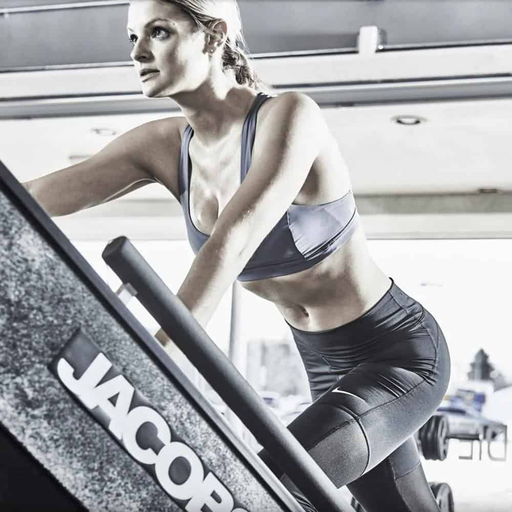 Rogue Fitness Jacobs Ladder with a user