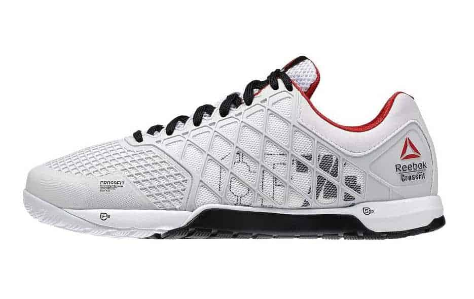 Side view of the Reebok CrossFit Nano 4.0 is a classic CrossFit Training shoe - DuraCage technology delivers an indestructible yet lightweight upper while RopePro protection wrap gives bite and support for rope climbs. 4mm heel to toe drop for stability.
