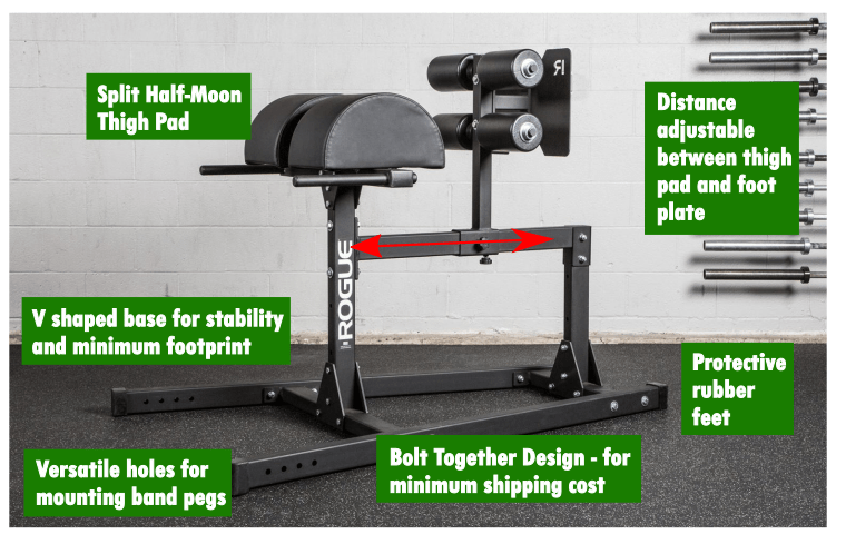 Fully adjustable and equipped to remain steady while generating peak power output, the Rogue GH-1 is a comprehensive tool for midline stabilization and the strengthening of hamstrings and glutes.