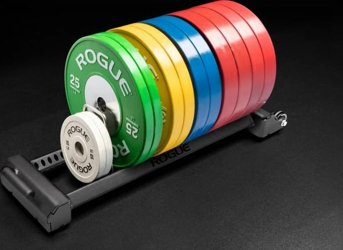 Rogue Horizontal Plate Rack 3.0 with plates