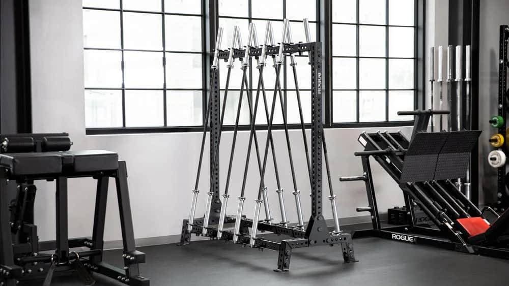 Rogue Monster Lean-To Bar Rack full view with barbells
