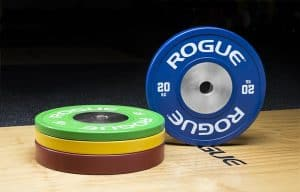 Look good in 2019 with the Rogue Color Kg Training 2.0 Plates - high quality bumper plates for training in the garage or home gym. IWF standard color coding is used. Color code is Red = 25 kg, Blue = 20 Kg, Yellow = 15kg, and Green = 10kg