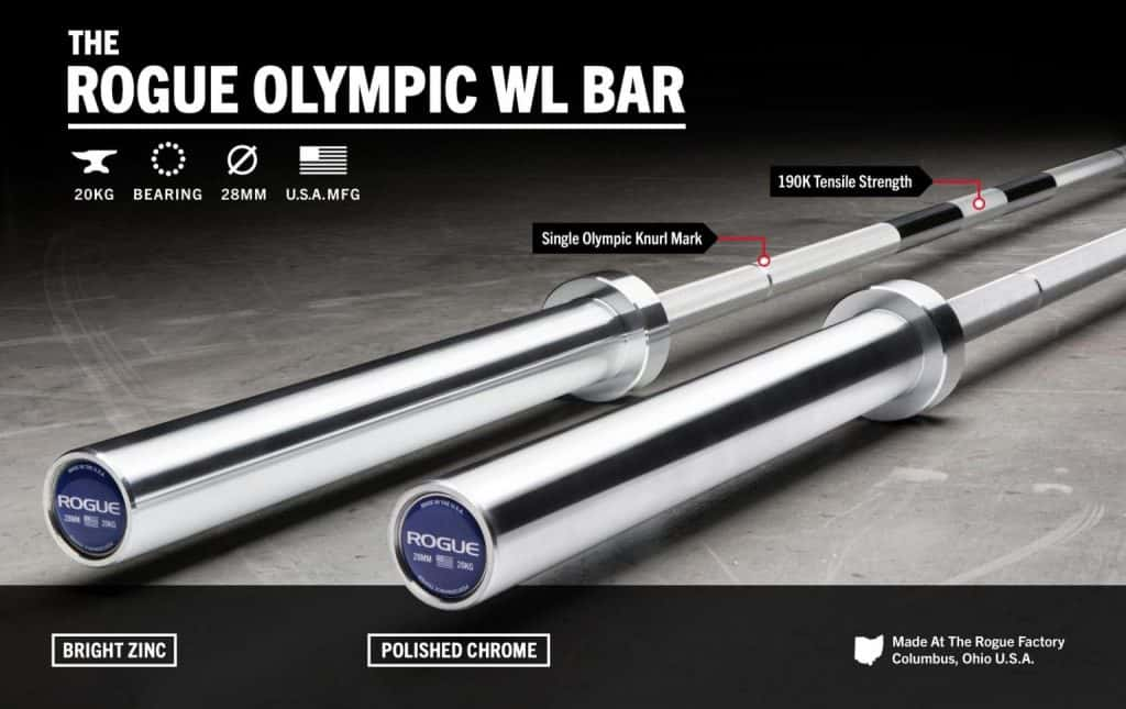 Rogue Olympic WL Bar - Perfect barbell from Rogue for Olympic weightlifting in the garage gym