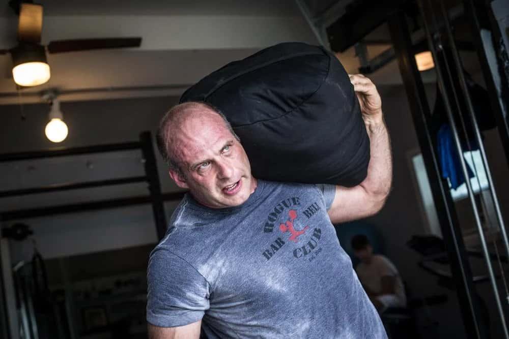 Rogue Strongman Sandbags being carried