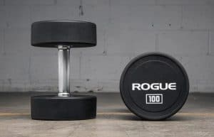 "Rogue Urethane Dumbbells are sold in pairs and available in 5LB increments up to 150LB. As an alternative to traditional rubberized bells, this design features solid steel heads with a durable, shock-absorbent urethane plating, fully over-molded to the center. The heads are welded to a 6"" straight hardened chrome handle to create a solid, single-piece dumbbell that moves fluidly and compactly and won't damage your flooring on a drop."