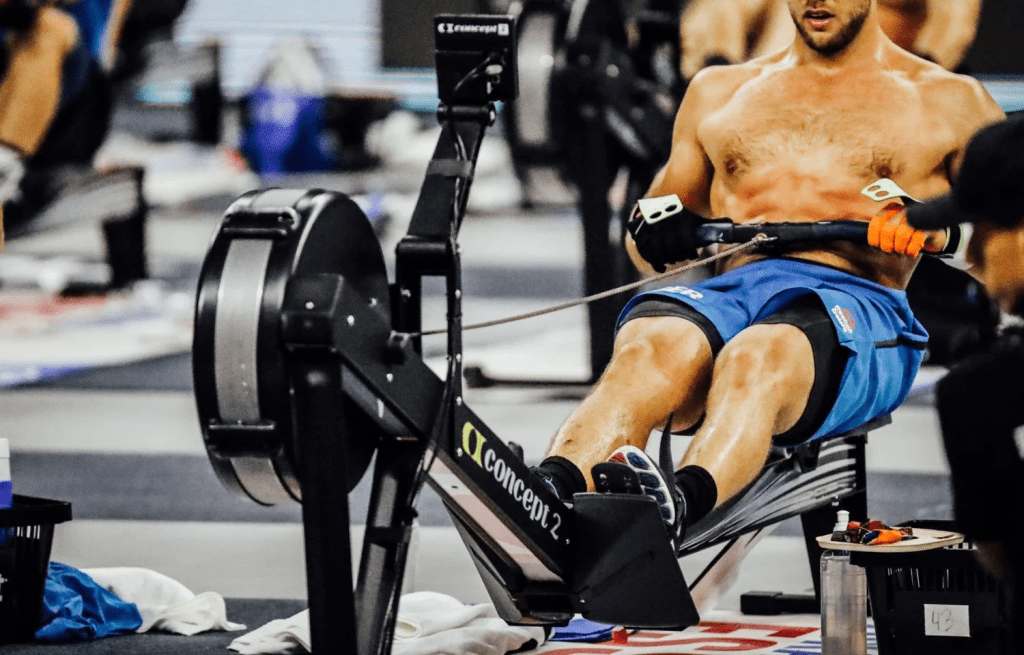 A Concept 2 Rower being used in a CrossFit competition.