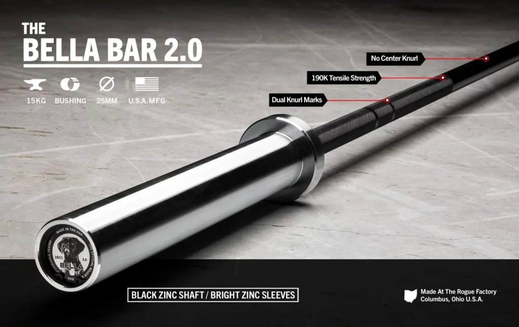 The Bella Bar is Rogue's go-to multipurpose 15KG barbell for female athletes. Fully machined and assembled in Columbus, Ohio, this versatile ladies bar is uniquely optitmized for Olympic weightlifting, powerlifting, and/or a CrossFit WOD.
