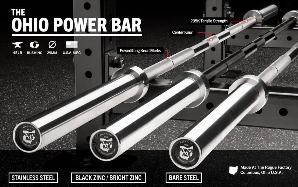 The Rogue Ohio Power Bar is an excellent, no whip bar for the slow lifts - big squats, deadlifts, and bench presses.