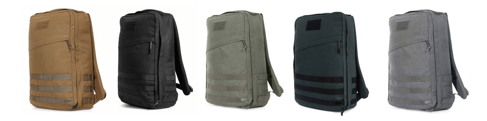 GORUCK Rucker 2 color options: Coyote Brown, Black, Ranger Green, Steel, Wolf Grey