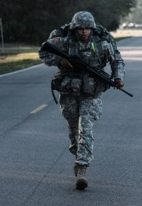 Rucking has its origins in the military - where long rucksack marches are an important training tool.
