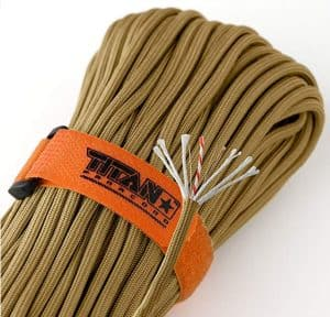 Titan 620 LB SurvivorCord Paracord | Patented U.S. Military Type III 550 Parachute Cord (MIL-C-5040H) with Integrated Fishing Line, Fire-Starter Tinder, and Snare Wire. 100% Nylon.