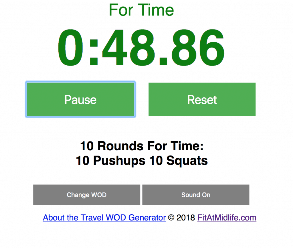 The FitAtMidlie Travel WOD Generator - generate a random WOD choice that is travel and hotel friendly. Includies built-in timer functions