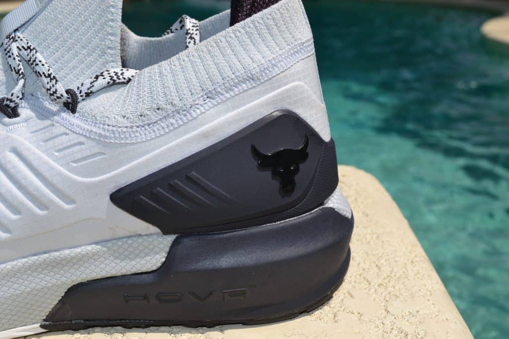 UA Project Rock 3 Training Shoe Heel Closeup